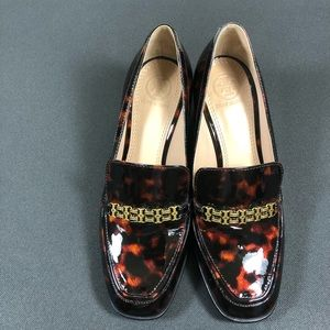 Tory Burch Gemini Link Tortoise Shell Loafers.